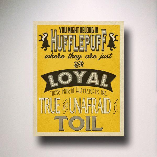 Hufflepuff House Art / Harry Potter Typography / Wall Art / Hogwarts ...