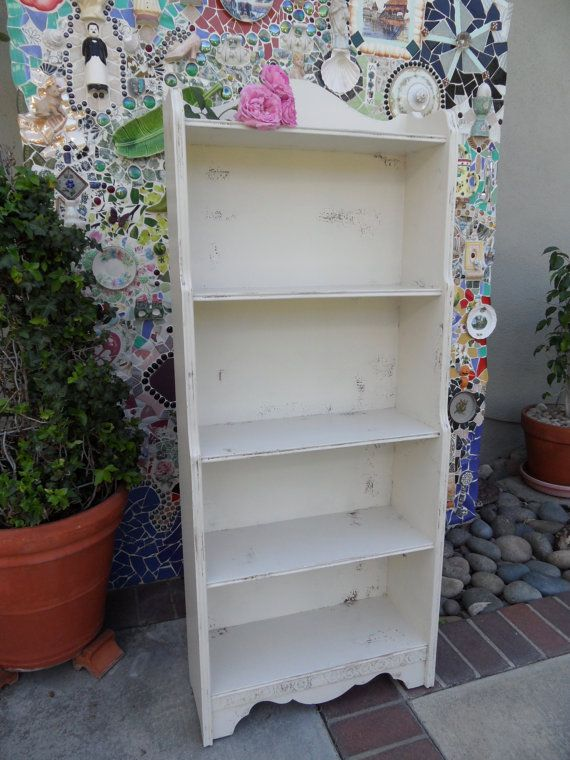 Off White Antique Wood Distressed Bookcase Vintage Shabby Chic