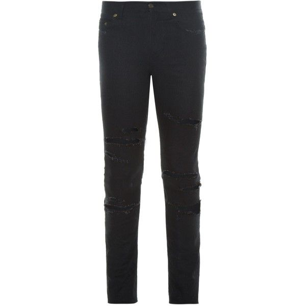 Saint Laurent Distressed low-rise skinny jeans (5 180 SEK) ❤ liked on Polyvore featuring men's fashion, men's clothing, men's jeans, black, mens distressed jeans, mens torn jeans, mens rock and roll jeans, mens low rise jeans and mens ripped jeans