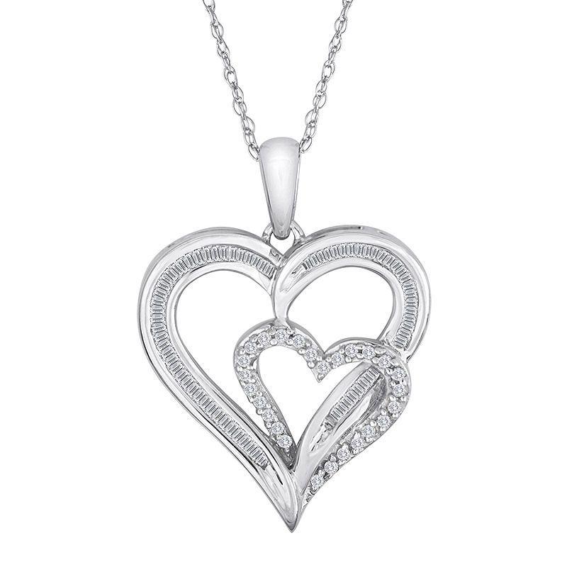 1 4 Ct T W Diamond 10k White Gold Double Heart Pendant Necklace Heart Pendant Necklace Pendant
