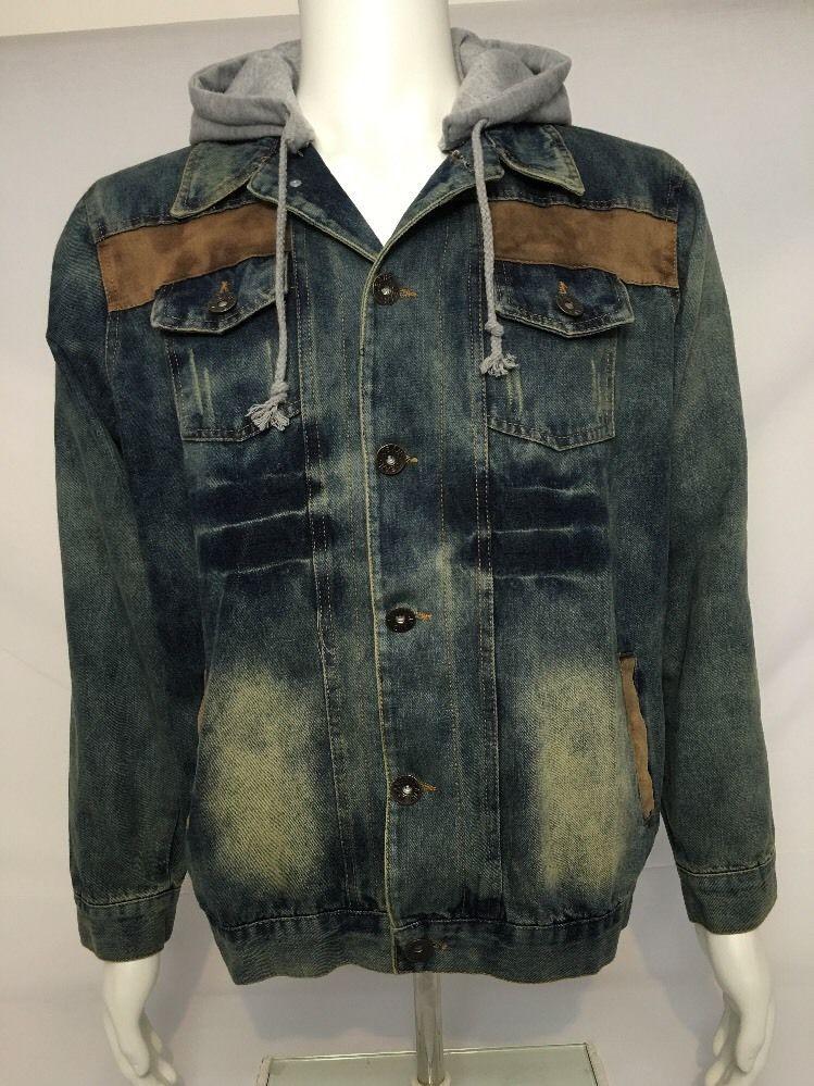 Xifulusi Men's Denim Jacket Removable Hoodie Distressed color size L EUC #Xifulusi #JeanJacket