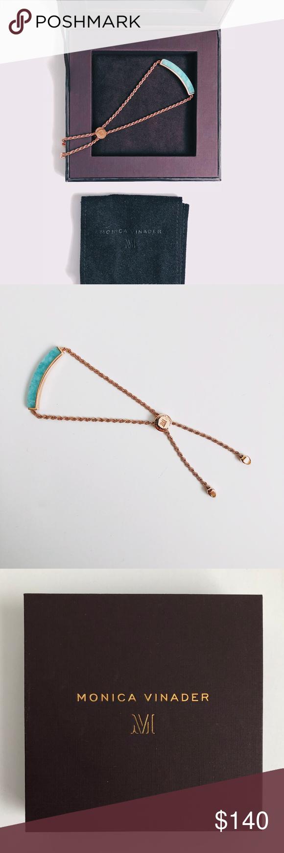 160b8589d31333 Monica Vinader Turquoise Rose Gold Bracelet LINEAR STONE BRACELET JEWEL  Monica Vinander 18ct Rose Gold Vermeil