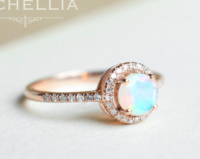 4dff618d73c3f Veronica Opal Engagement Ring, Vintage Pear Crown Ring in Opal, Rose ...