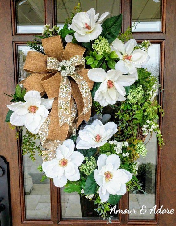 Photo of Everyday wreath, magnolia wreath, spring wreath, bestseller, elegant wreath, wedding gift, bridal shower gift