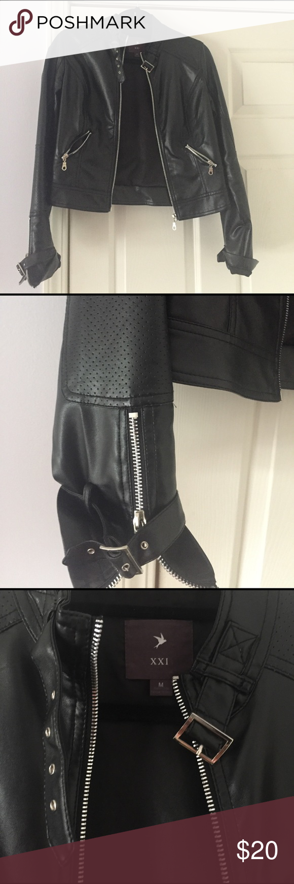 Faux leather jacket Brand new, only worn once for a Halloween costume (I was Lady Gaga lol) Multiple zippers and buckles. Cool looking jacket! Forever 21 Jackets & Coats