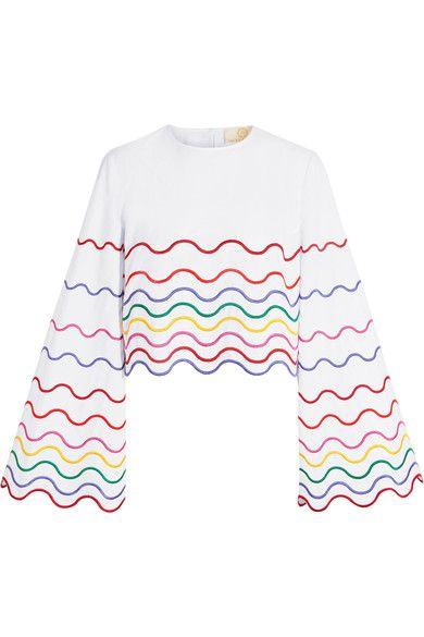 SARA BATTAGLIA Cropped embroidered cotton-poplin top. #sarabattaglia #cloth #oberteile