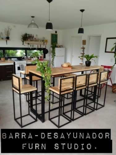 Barra Desayunador 2banq Hierro Y Madera Industrial Calidad 16 900 00 Cocina Estilo Industrial Diseño Muebles De Cocina Muebles De Diseño Industrial