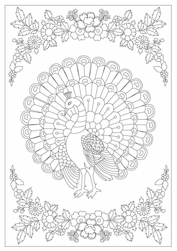 Coloring Page With Peacock Design