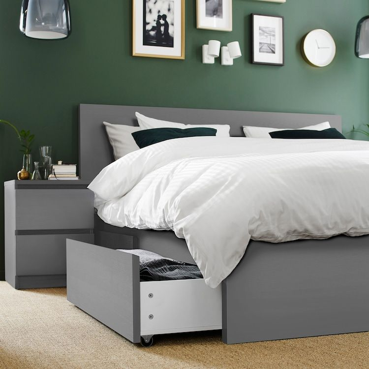 Malm High Bed Frame 4 Storage Boxes Gray Stained Lonset King