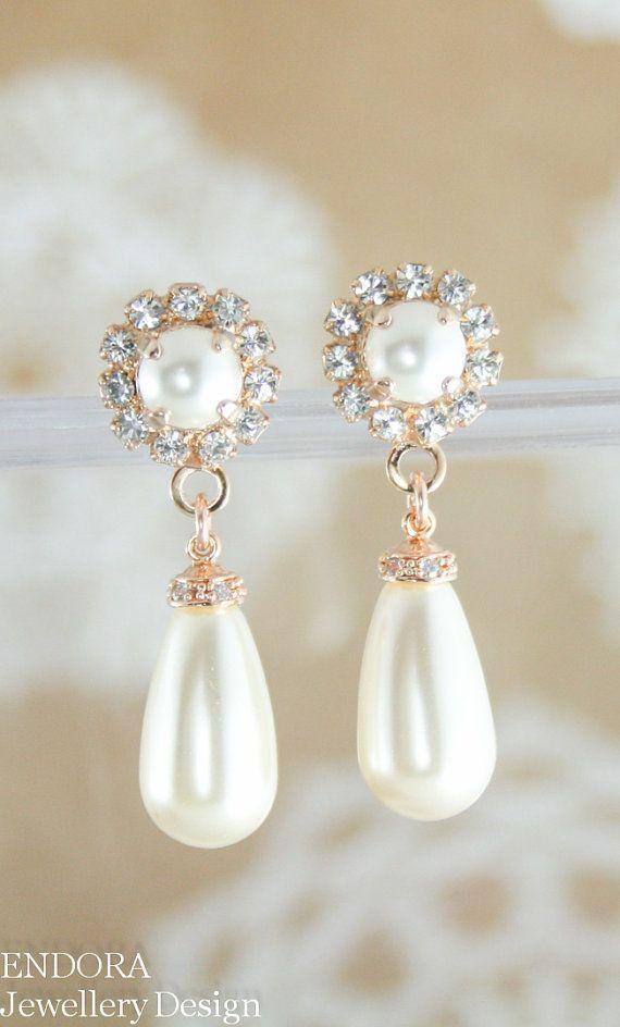Rose Gold Pearl Earrings Bridal Wedding Jewelry Swarovski Teardrop In 2019 Vintage