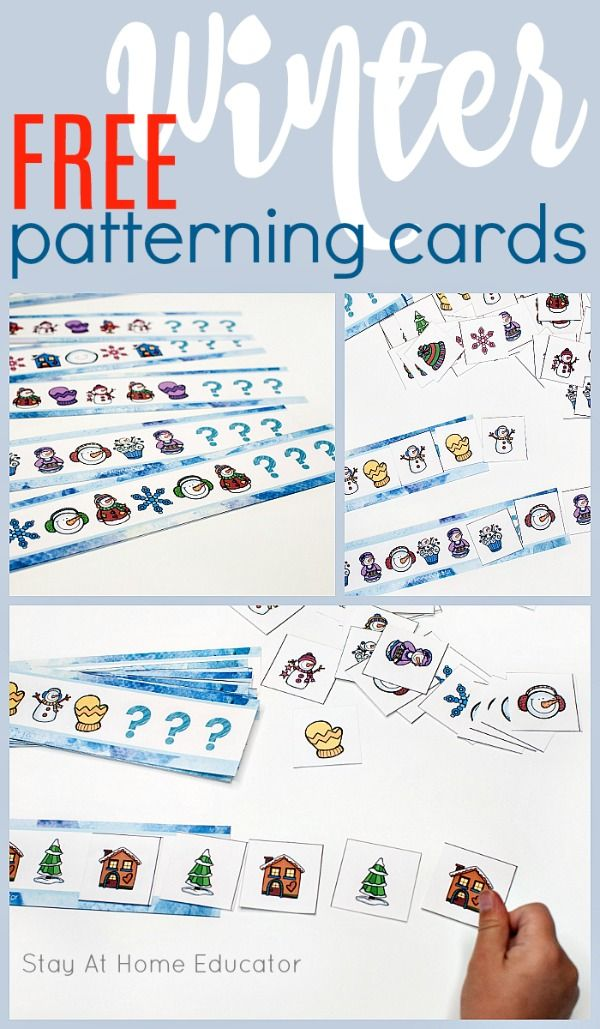 5 Preschool Math Activities for Winter Using FREE Patterning Cards