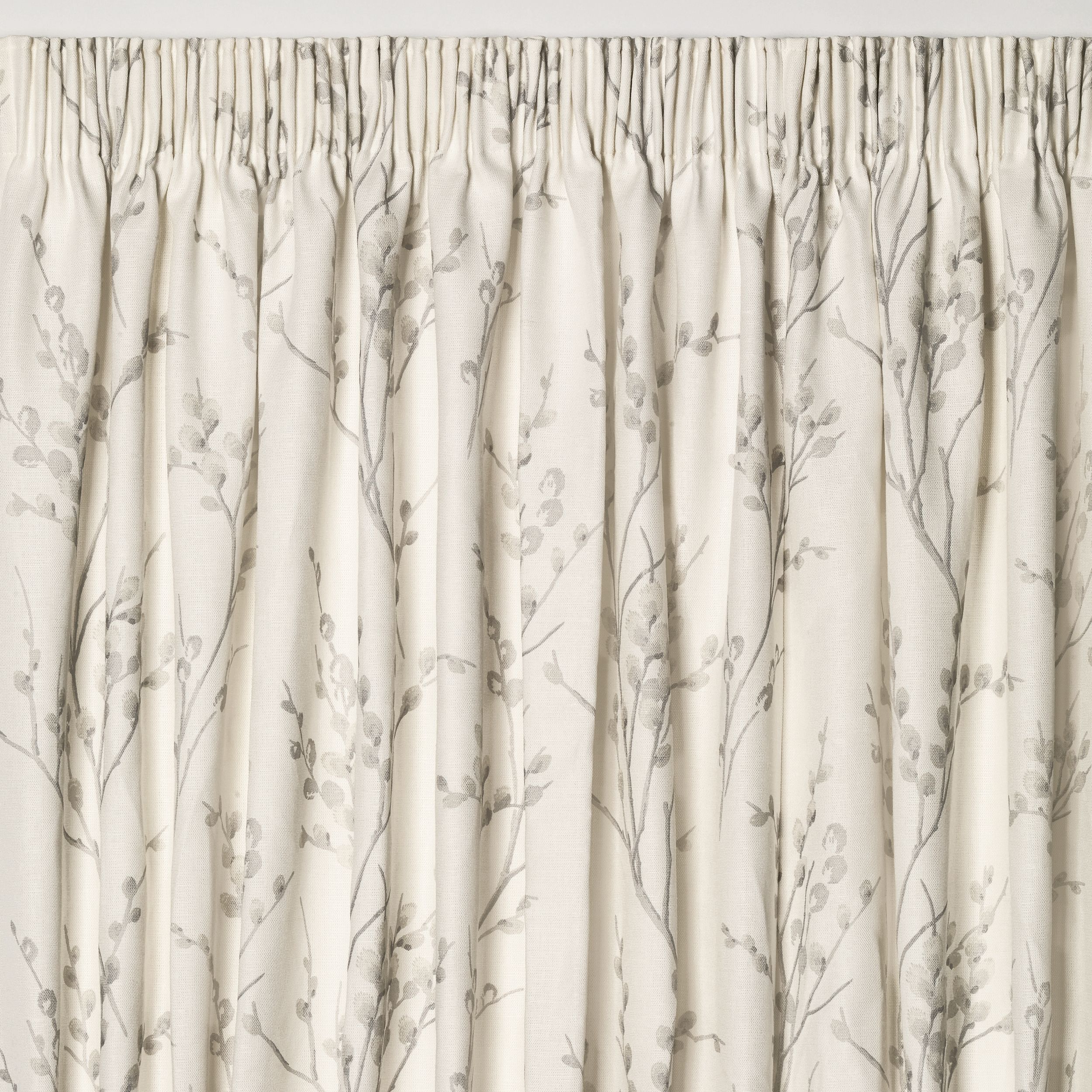 Pussy Willow f White Dove Grey Floral Pencil Pleat Ready Made