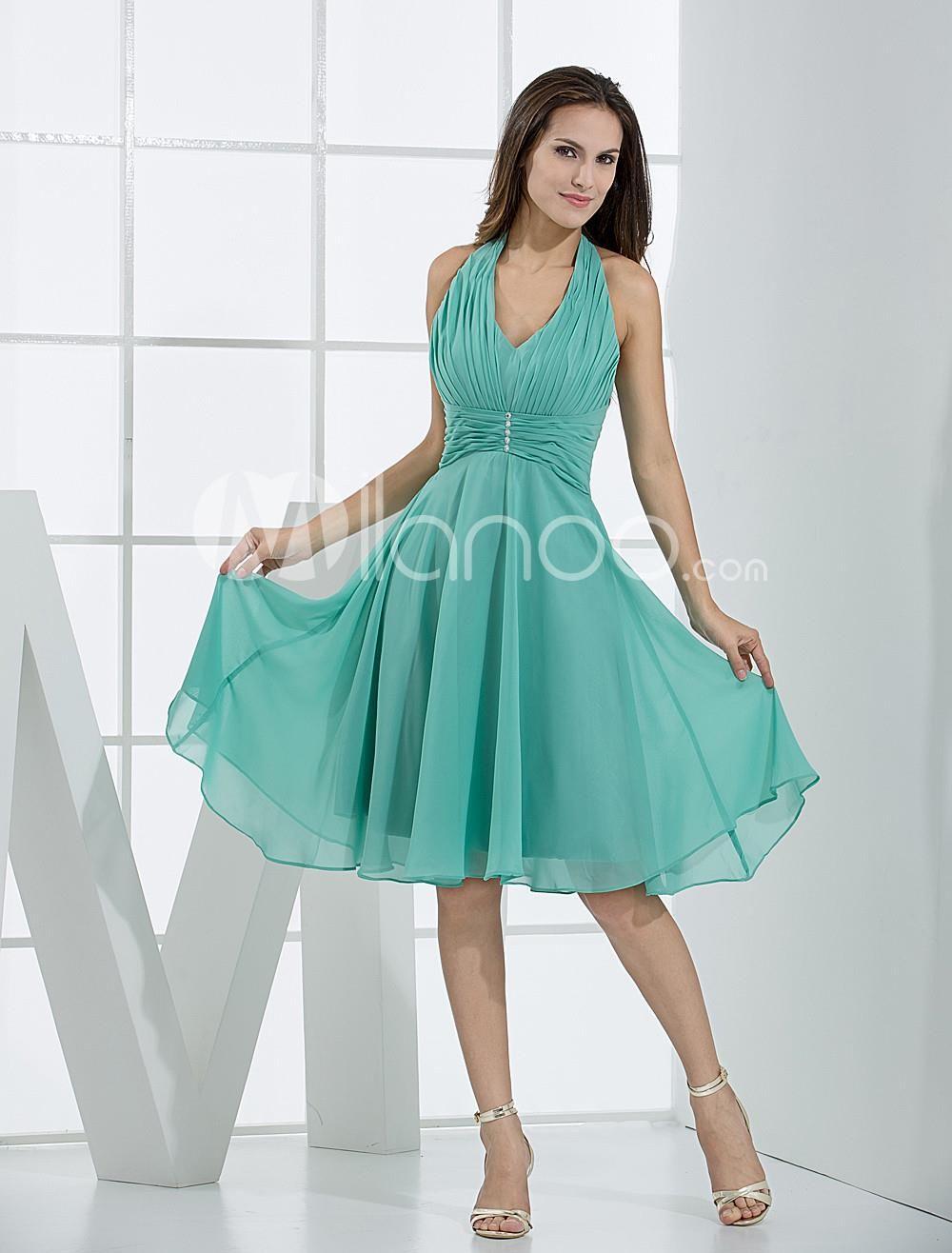 Vintage Halter V-Neck Pleated Wrapped Silk Chiffon Bridesmaid Summer ...