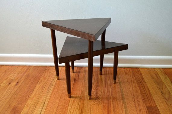 Marvelous Vintage Nesting Tables, Mid Century Modern Furniture, 1960s Geometric  Triangle Side Tables, Brown