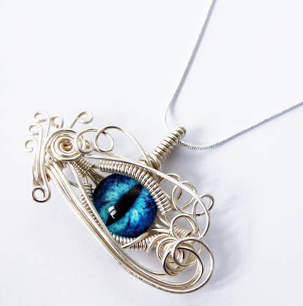 Wire Wrap Blue Glass Dragon Eye Pendant by ~Create-A-Pendant on ...
