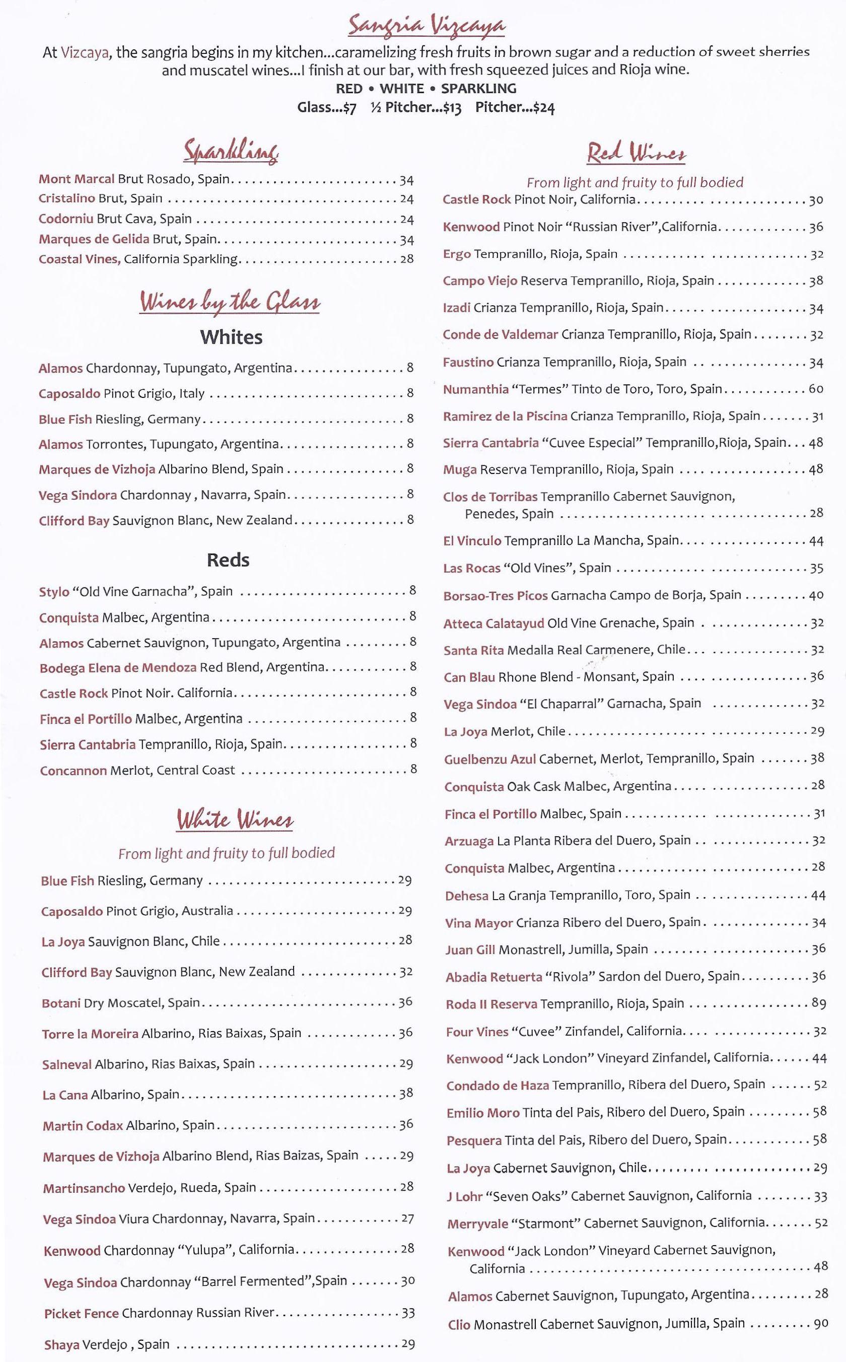 Vizcaya Restaurante Wine Menu Wine Menu Tampa Restaurants