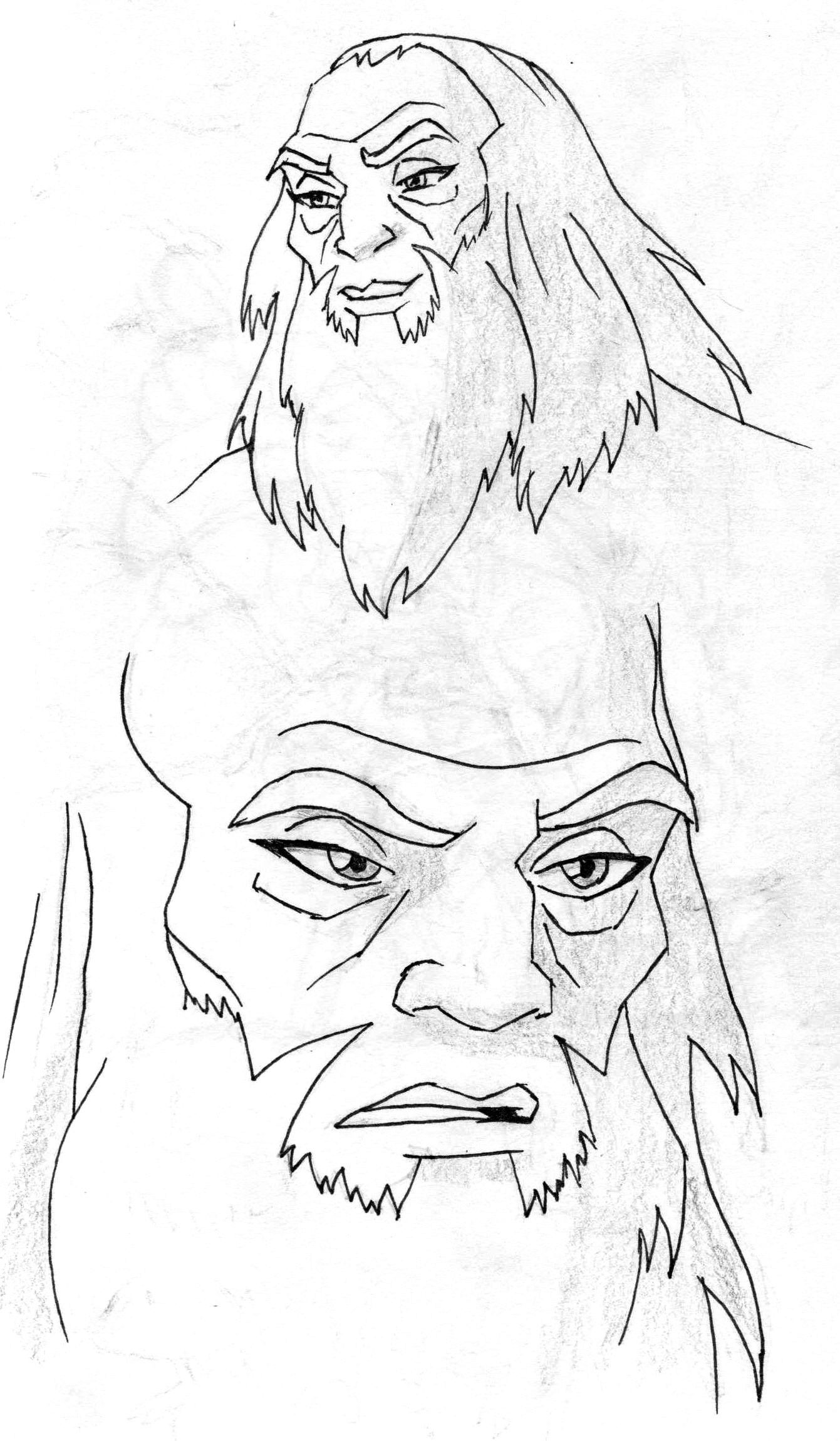 Indian ink and pencil avatar roku from avatar the last airbender