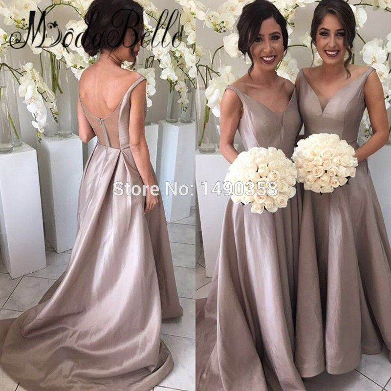 3df101a1b3f667 Grecian Champagne Color Bridesmaid Dresses Satin A Line Prom dress Arabic