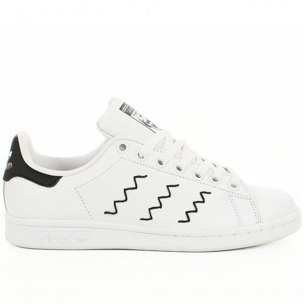Basket Adidas Stan Smith Blanche et Noire Broderie Zig Zag (€90) ❤ liked