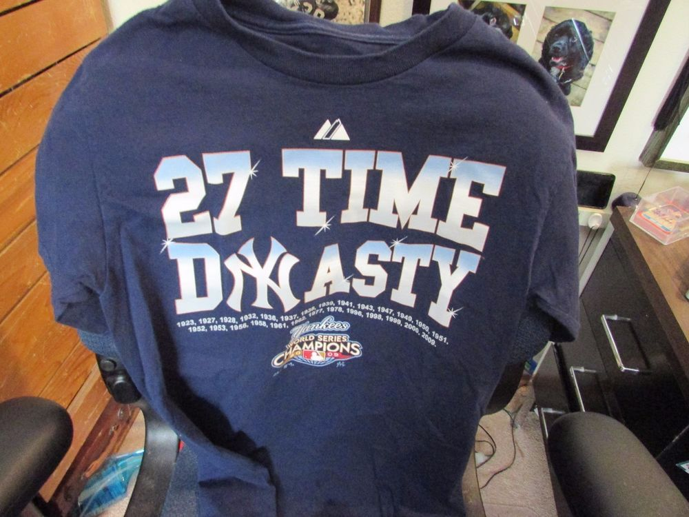 f2e3a313280 27 Time Dynasty 2009 Yankees World Series Champions Screen Printed  Tee-Shirt ~ S  Majestic  NewYorkYankees