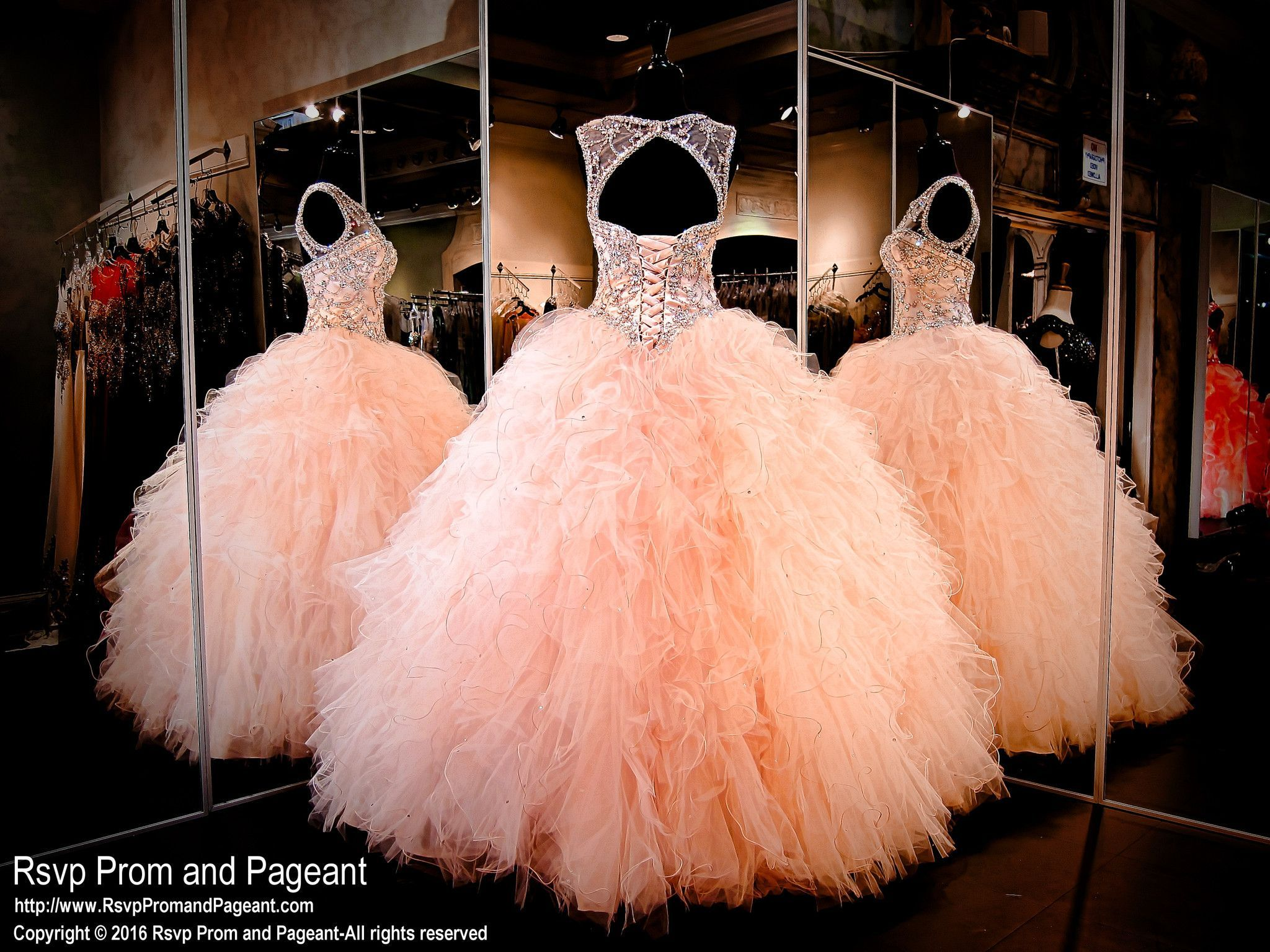 Blush Ball Gown Wedding Dress: Blush High Neckline Beaded Lace Up Quinceanera Ball Gown