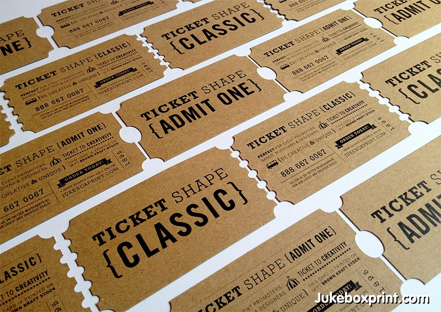 Ticket Shaped business cards on brown kraft card stock. Designed ...