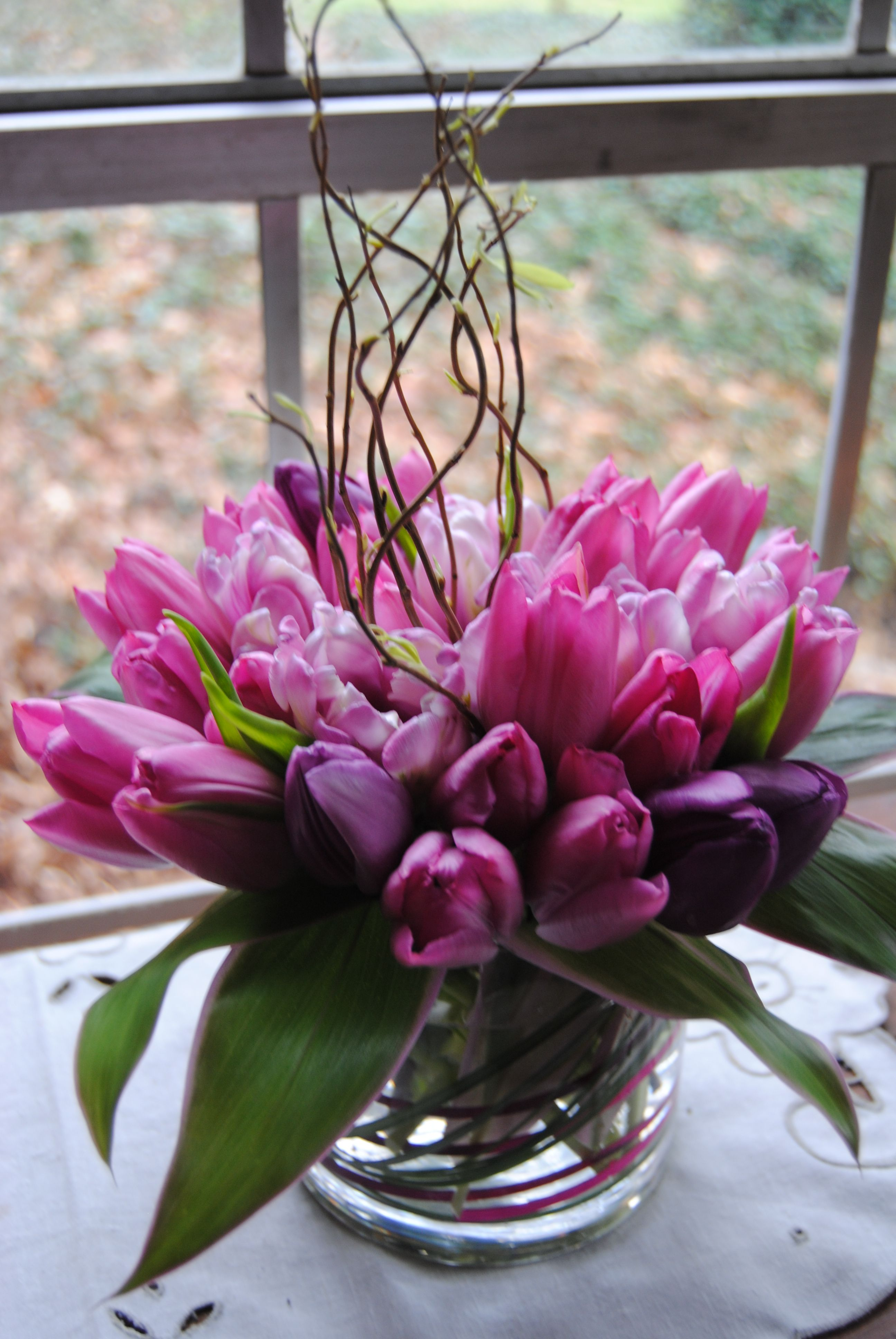 tulips curly willow table centerpiece  FLOWERS AND