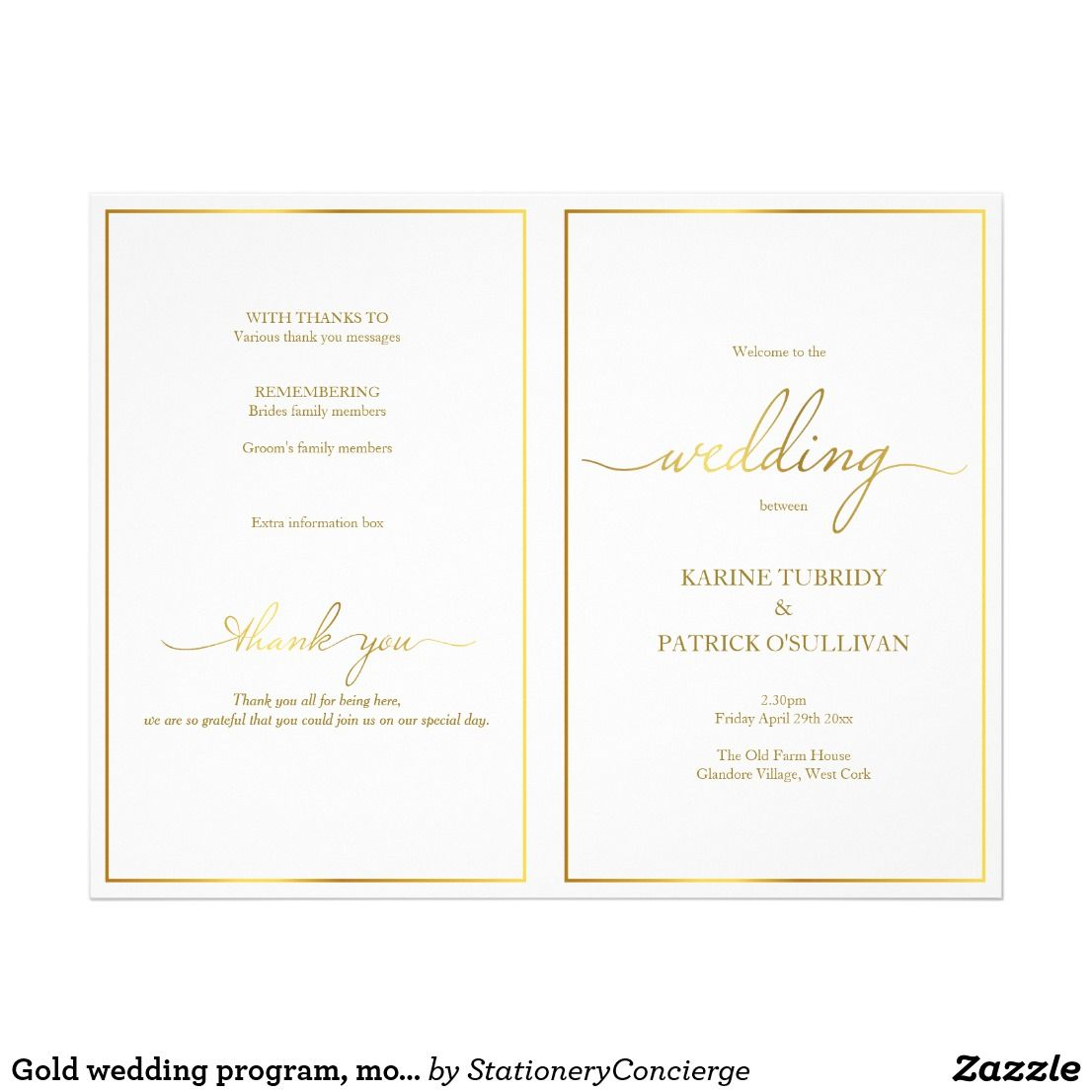 gold wedding program modern font gold border in 2018 wedding