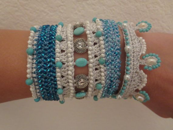 PATTERN : Bead Crochet Bracelet Cuff Turquoise-Blue-Pearl-Swarovski ...