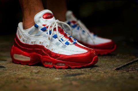 Nike Air Max 95 WHITE/RED   Kicks shoes, Sneakers nike air max ...