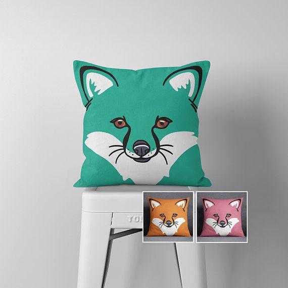 Items similar to Fox Print Throw Pillow, Fox Nursery Cushion Cover, Linoprint Scandinavian Pillow on Etsy