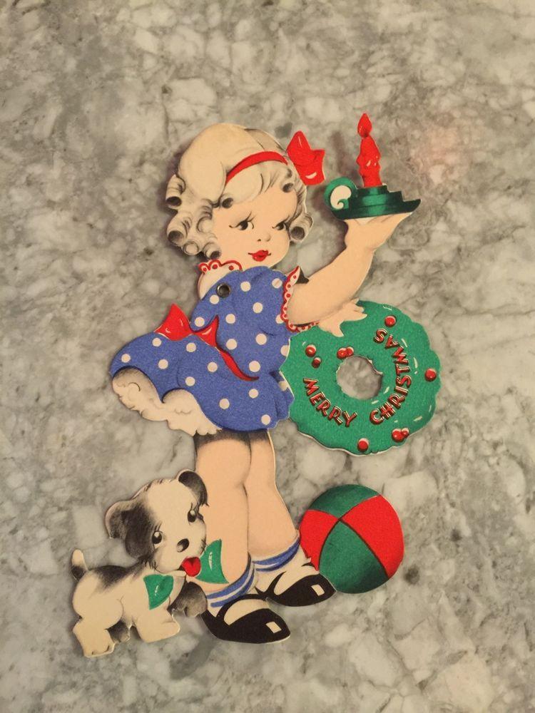 Vintage Christmas Card, moveable, mechanical