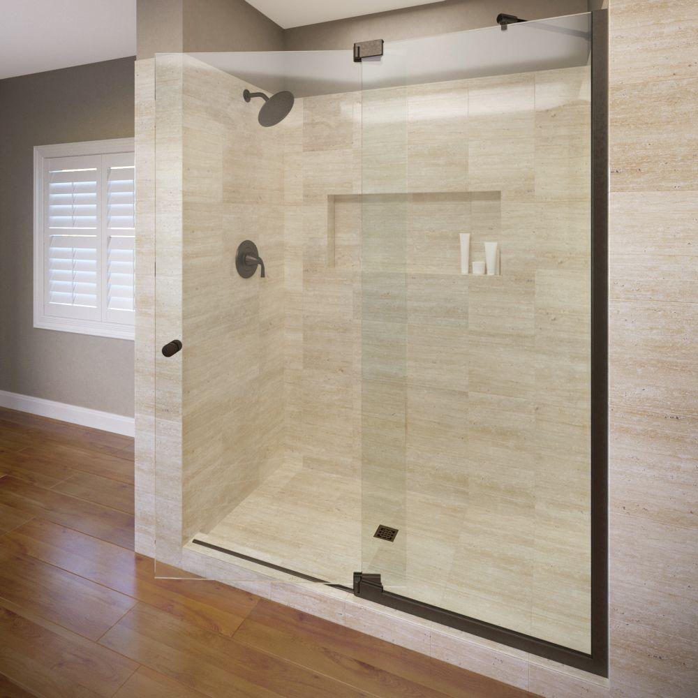 Basco Cantour 36 In X 76 In Semi Frameless Pivot Shower Door In