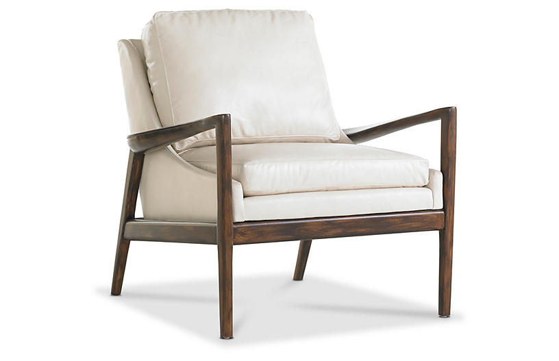 Ebonwood Accent Chair Ivory Leather Miles Talbott Frame
