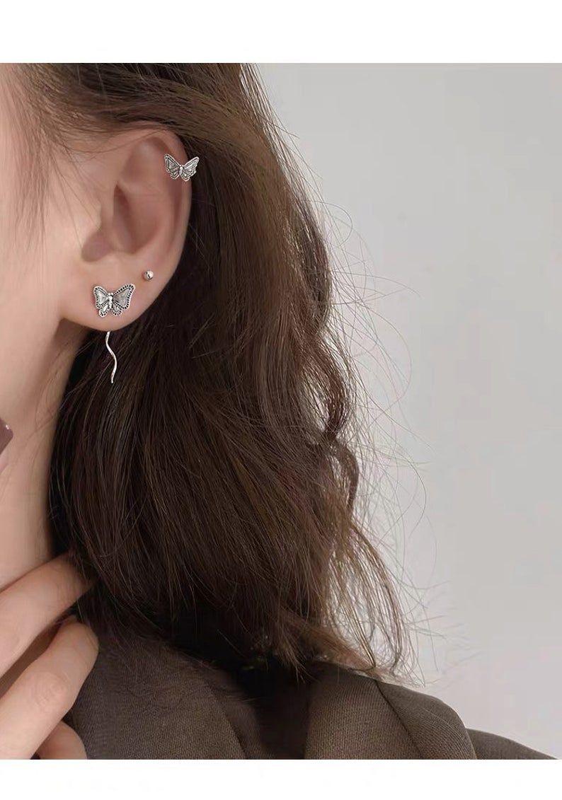 Charm 925 Silver Long Ear Threader Earrings Butterfly Stud Drop Dangle Women