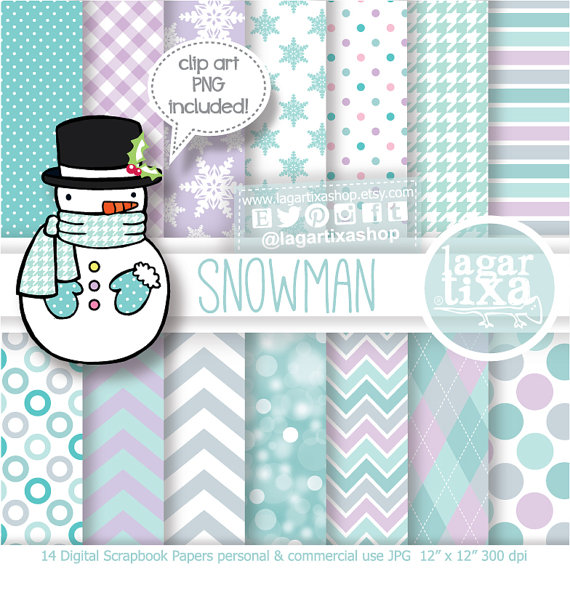 Christmas Snowman Digital Paper Clipart Chevron Snowflakes for invitations, tags, blog, cards, printables, recipe book, candybar decoration
