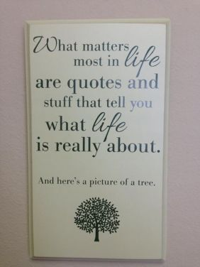 What matters most in life are quotes and stuff that tell you what life is really about. And here's a picture of a tree.