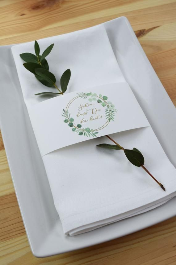 Papeterie Set Large, Eucalyptus Gold-1 Wedding/Birthday Baptism, Menu Card, Table Card, Pendant and Serviette Banderols in Set