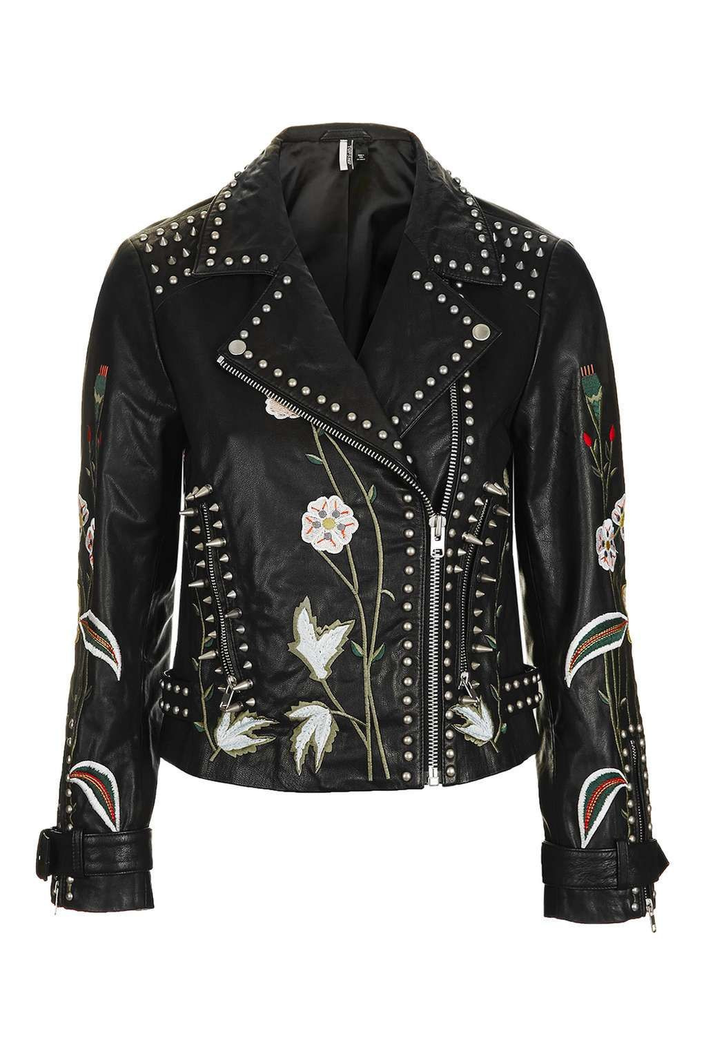 Flower embroidered jacket coat PU Motorcycle jackets for women
