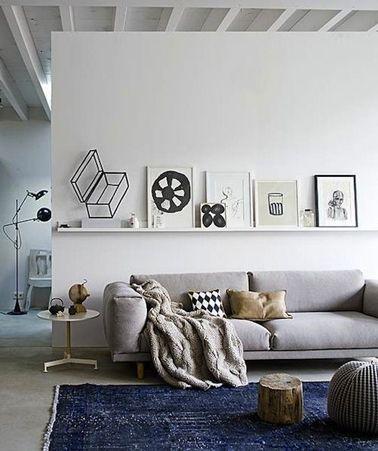 Peinture salon grise cloison blanche canap gris perle - Peinture blanche salon ...