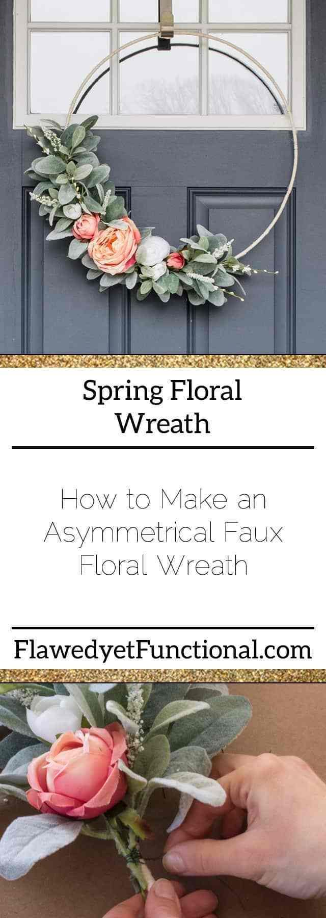 Gallery Lamb's Ear and Rose Asymmetrical Spring Wreath   DIY Faux Floral Wreath is free HD wallpaper.