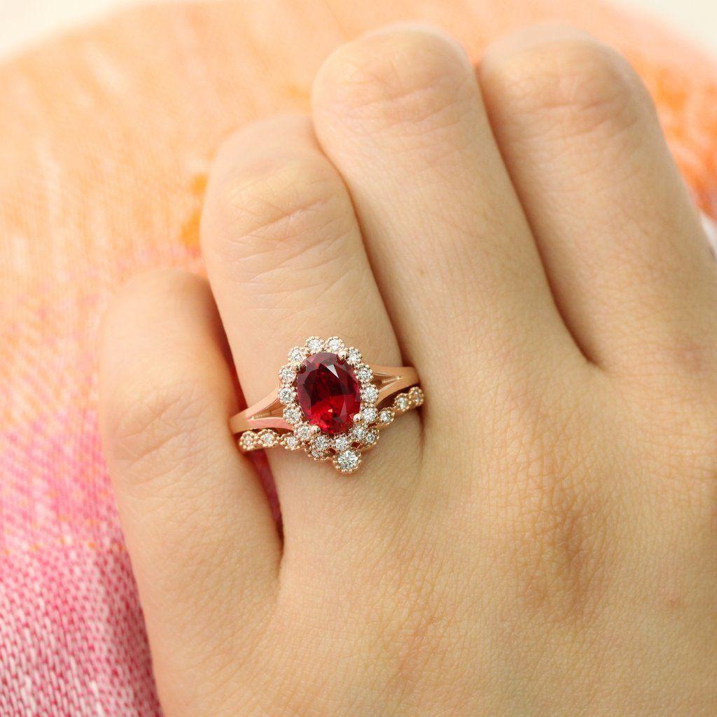 Vintage Luna Halo Bridal Set w/ Oval Ruby and Star Curved