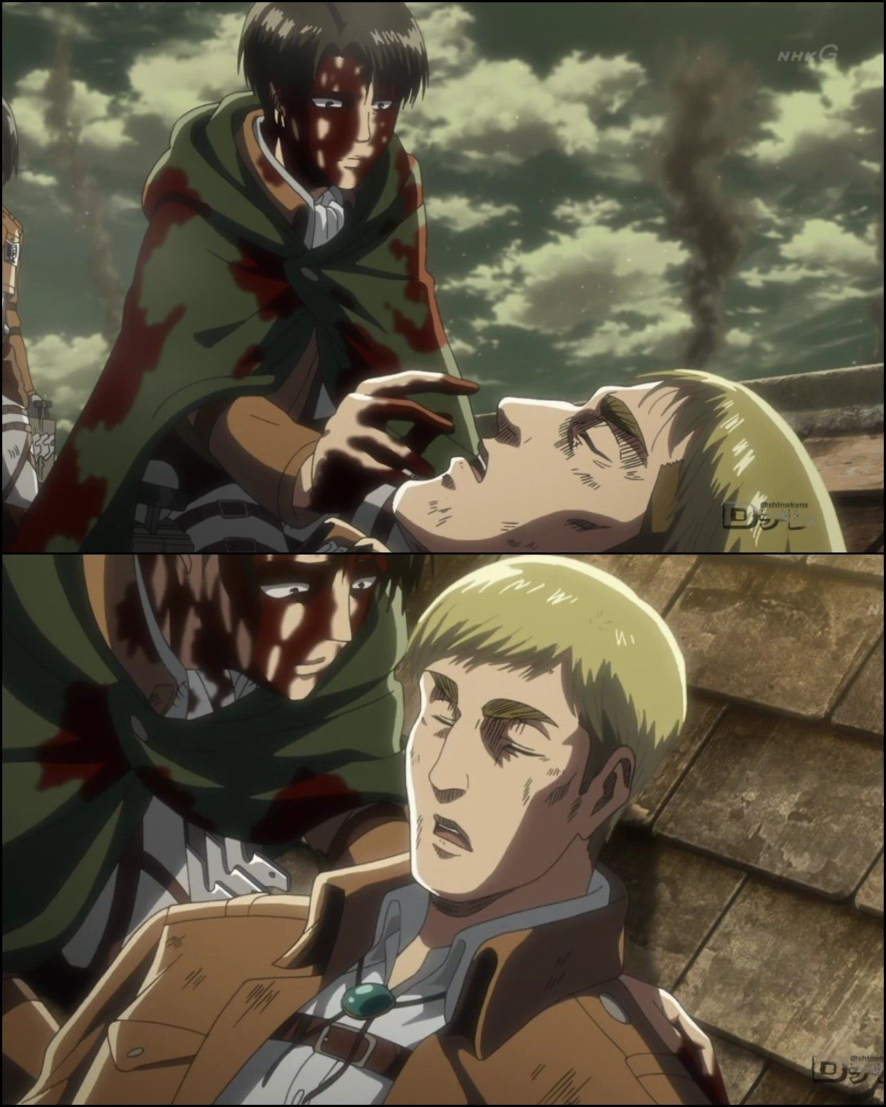 "he's...still breathing"" Levi and Erwin SnK season 3"