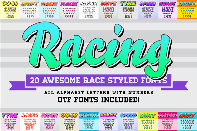 Awesome 20 Racing Fonts with Color OTF Fonts by CkyBe on