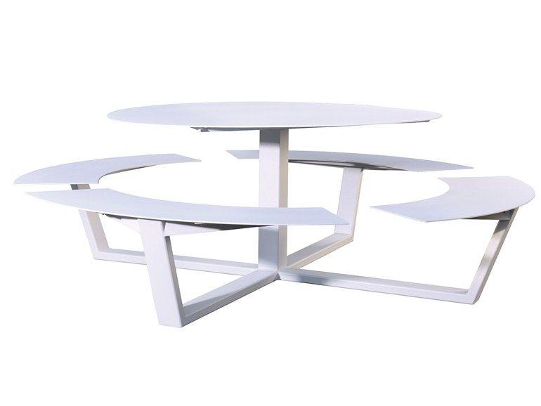 Table pour pique-nique ronde avec bancs intégrés LA GRANDE ...