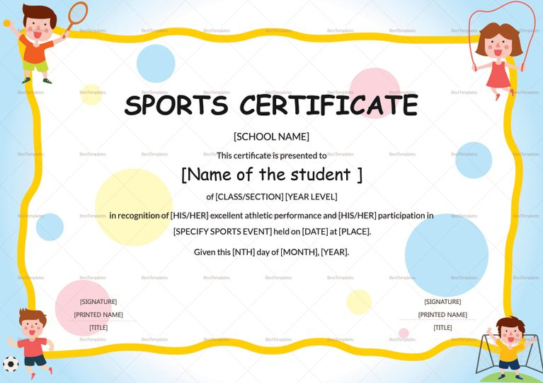 Kids Sports Participation Certificate Template  Certificate