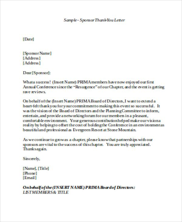 Sample sponsorship thank you letter examples word pdf fundraising sample sponsorship thank you letter examples word pdf fundraising letters how craft great appeal altavistaventures Images