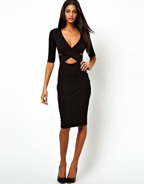 Paprika Wrap Front Midi Dress