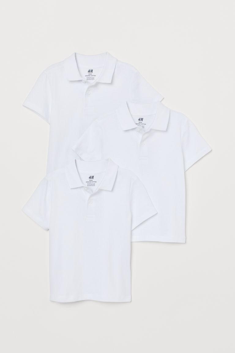 3 Lu Pamuklu Polo Tisort Beyaz Cocuk H M Tr Cotton Polo Shirt Polo Shirt White Cotton Polo