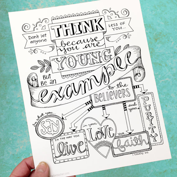 1 Timothy 4:12 Be An Example Bible Journaling Color Your Own INSTANT ...